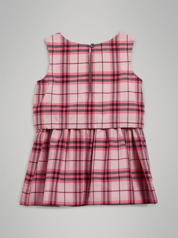 Gathered Check Cotton Dress in Bright Rose | Burberry - cell image 3