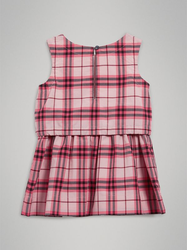 Gathered Check Cotton Dress in Bright Rose - Children | Burberry - cell image 3