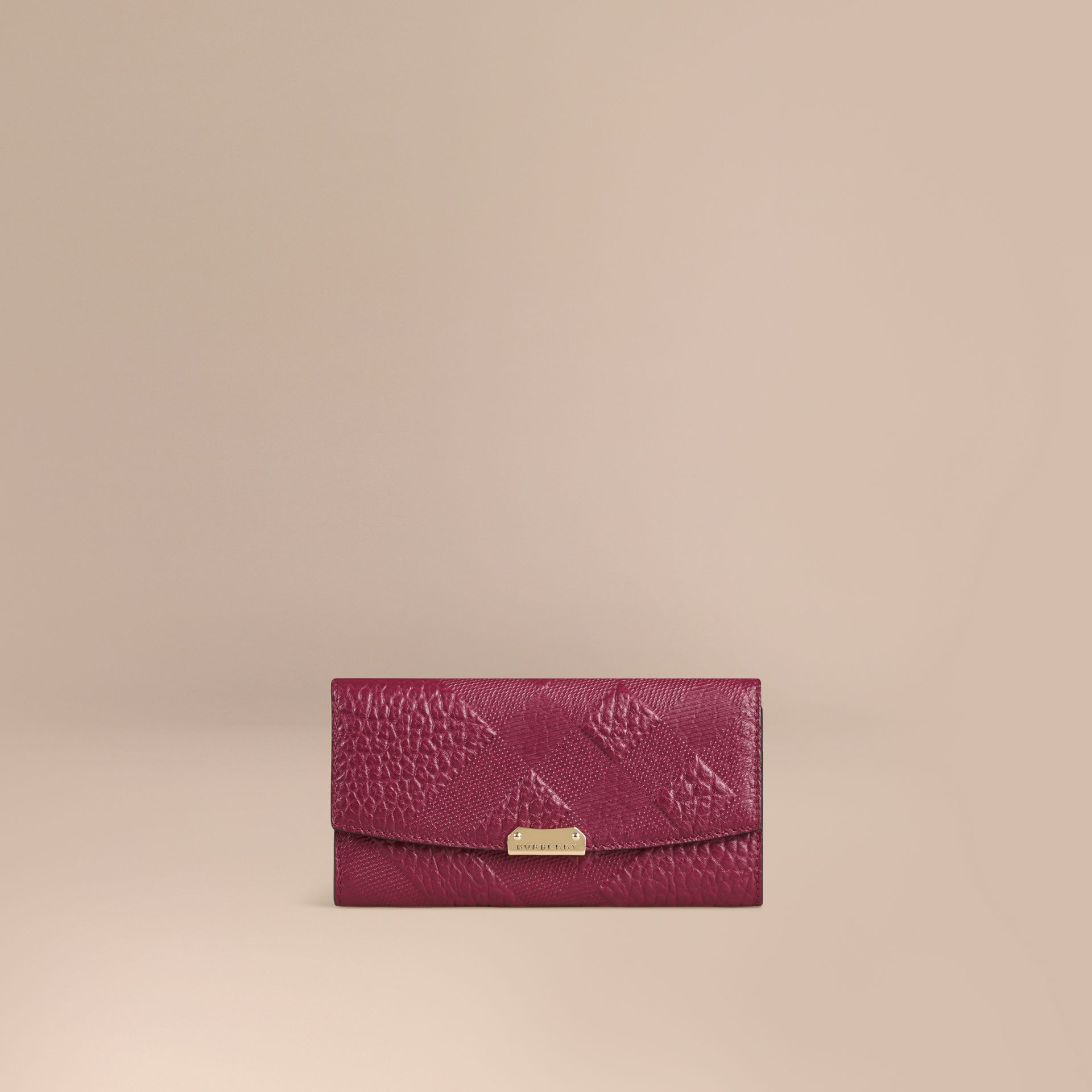 Dark plum Embossed Check Leather Continental Wallet Dark Plum - gallery image 1