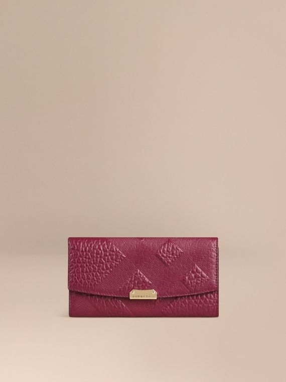 Embossed Check Leather Continental Wallet Dark Plum
