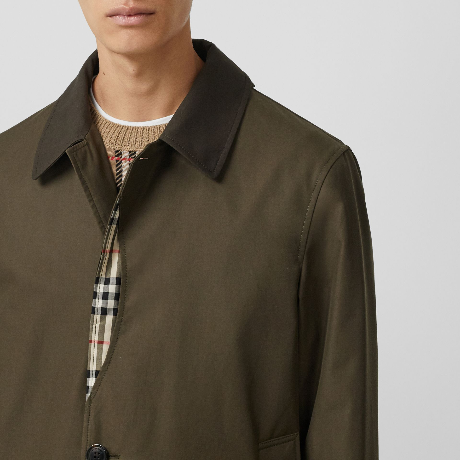 Vintage Check Detail Cotton Gabardine Car Coat in Dark Khaki Green - Men | Burberry - gallery image 1