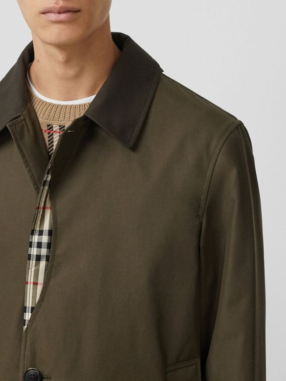 Vintage Check Detail Cotton Gabardine Car Coat in Dark Khaki Green - Men | Burberry - cell image 1