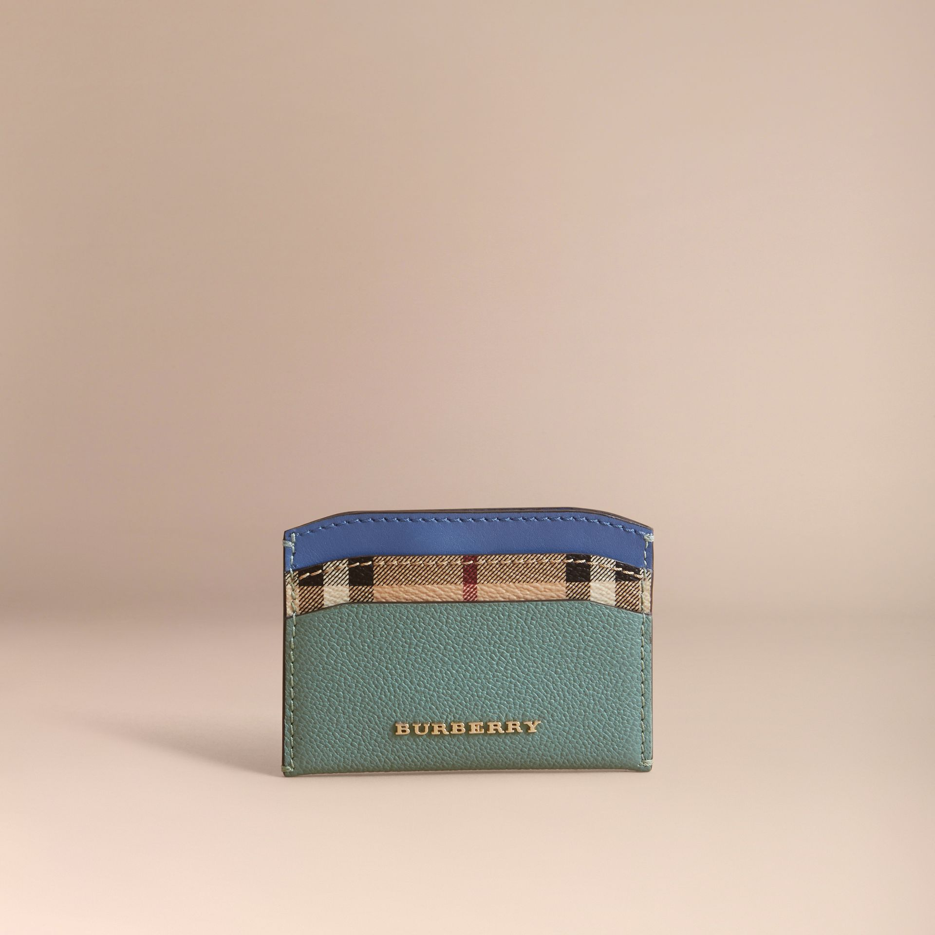 Colour Block Leather and Haymarket Check Card Case Eucalyptus Grn/multi - gallery image 2