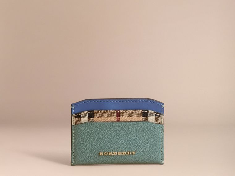 Colour Block Leather and Haymarket Check Card Case Eucalyptus Grn/multi - cell image 1