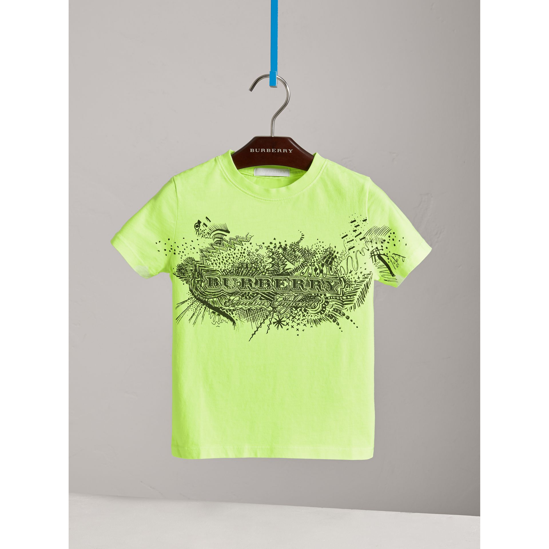 Doodle Print Cotton T-shirt in Bright Lemon | Burberry - gallery image 0
