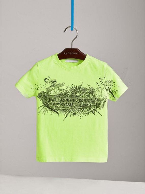 Doodle Print Cotton T-shirt in Bright Lemon