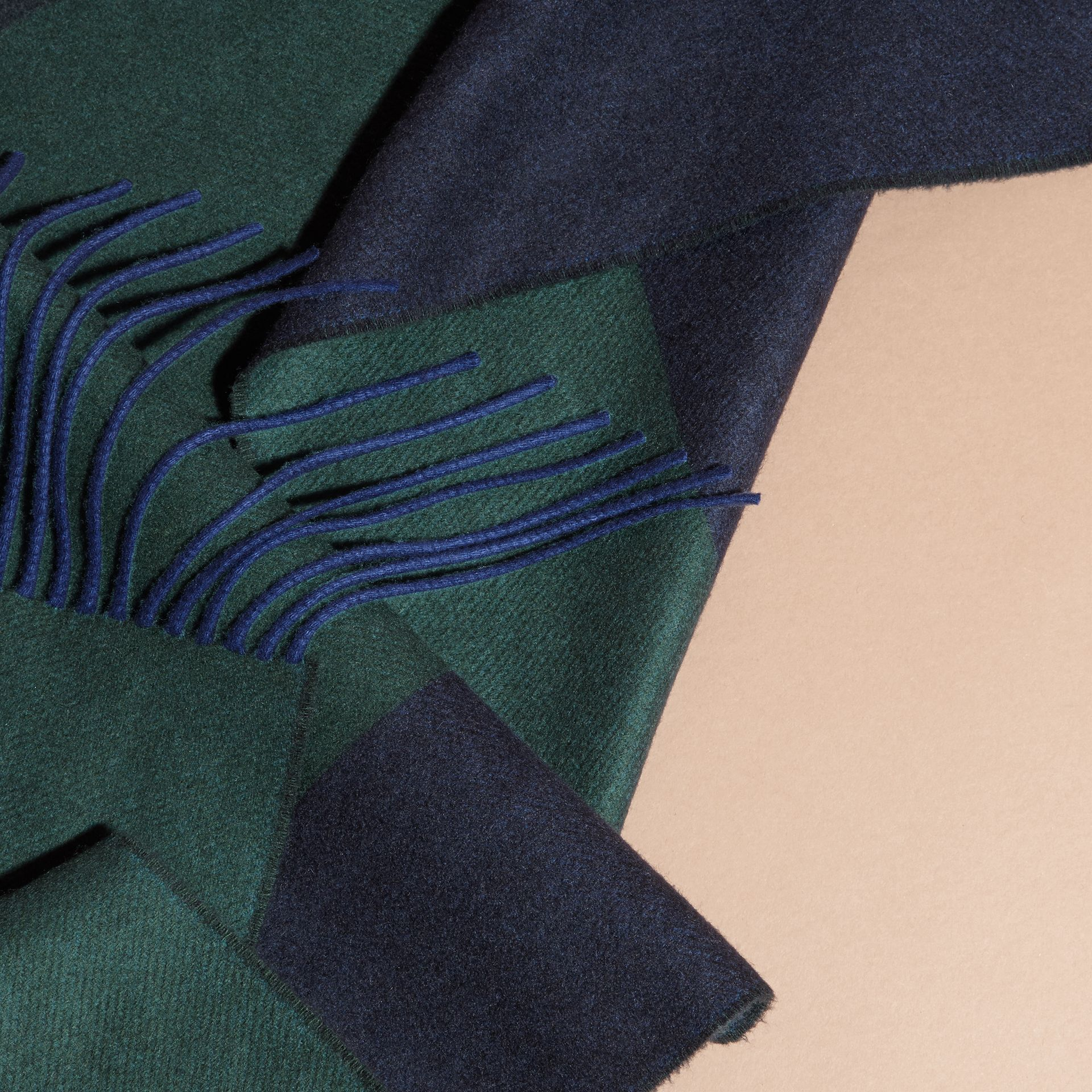 Oversize Striped Cashmere Scarf in Dark Forest Green - gallery image 2