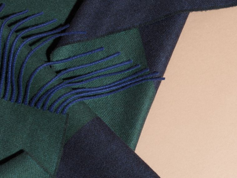 Oversize Striped Cashmere Scarf in Dark Forest Green - cell image 1