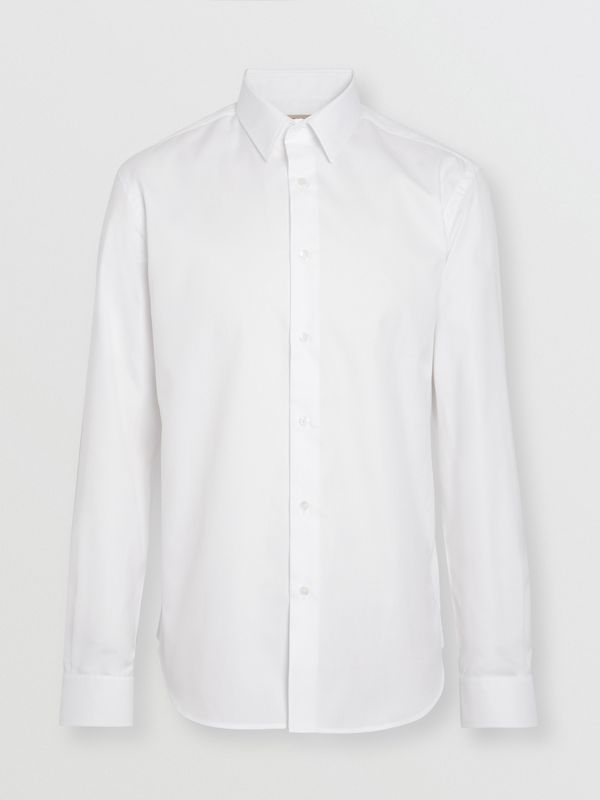 Modern Fit Cotton Shirt in White - Men | Burberry Singapore - cell image 3