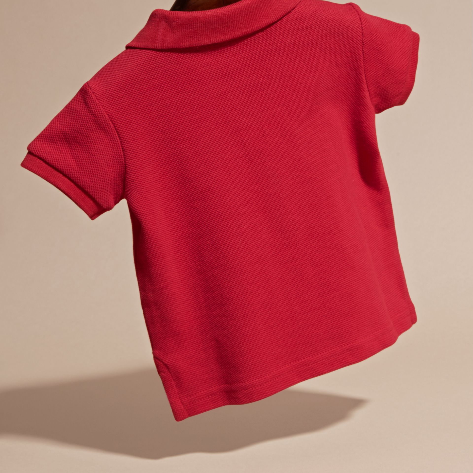 Cotton Piqué Polo Shirt in Military Red | Burberry - gallery image 4