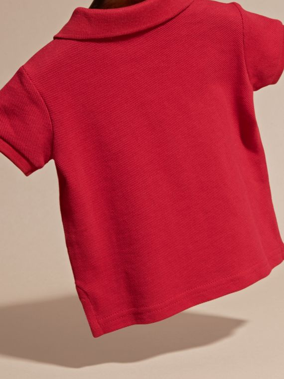 Cotton Piqué Polo Shirt in Military Red | Burberry - cell image 3