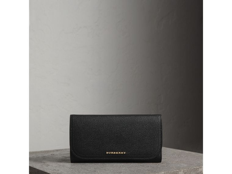 Leather Continental Wallet with Removable Coin Case in Black - Women | Burberry Australia - cell image 4