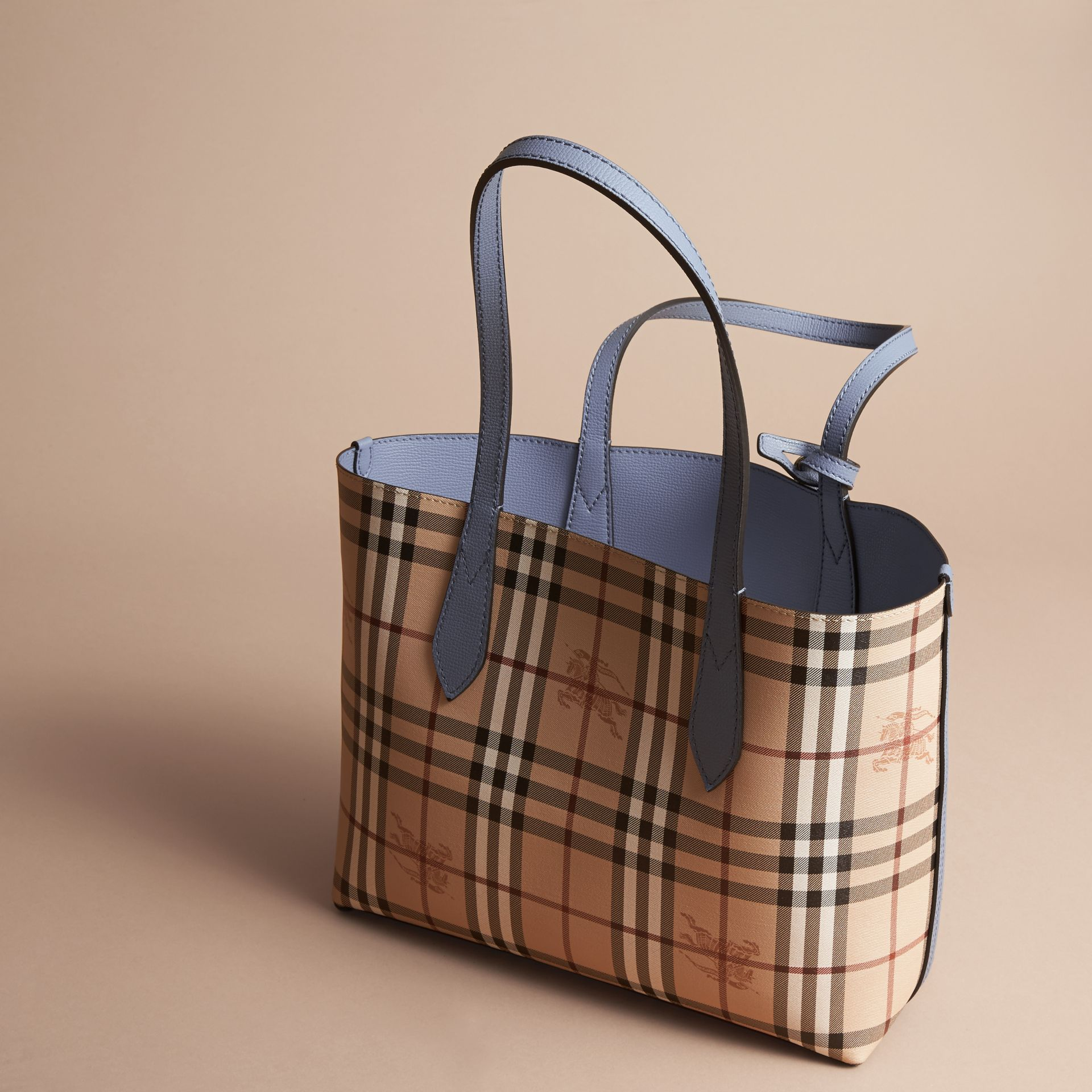 The Small Reversible Tote in Haymarket Check and Leather Slate Blue - gallery image 5
