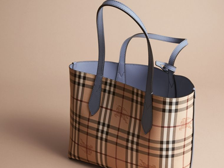 The Small Reversible Tote in Haymarket Check and Leather Slate Blue - cell image 4