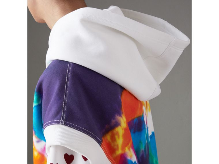 Tie-dye Print Sleeveless Hoodie in Multicolour | Burberry Australia - cell image 1