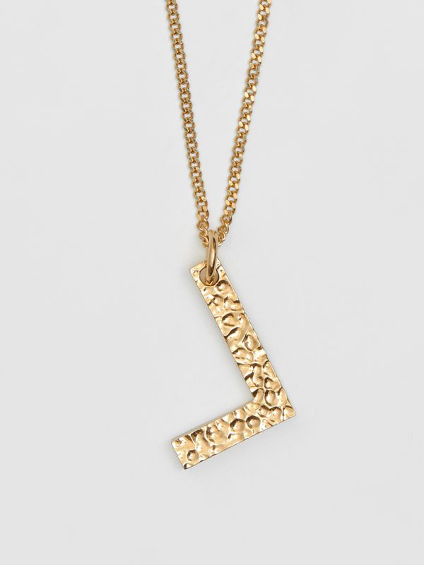 'L' Alphabet Charm Gold-plated Necklace in Light - Women | Burberry United Kingdom - cell image 2