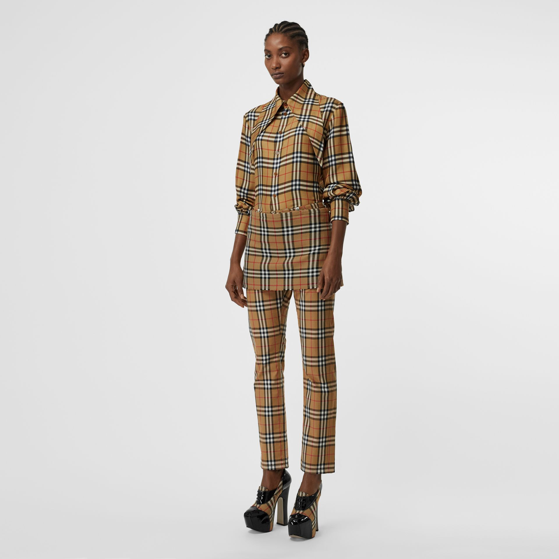 Vintage Check Wool Mini Kilt in Antique Yellow | Burberry United Kingdom - gallery image 0