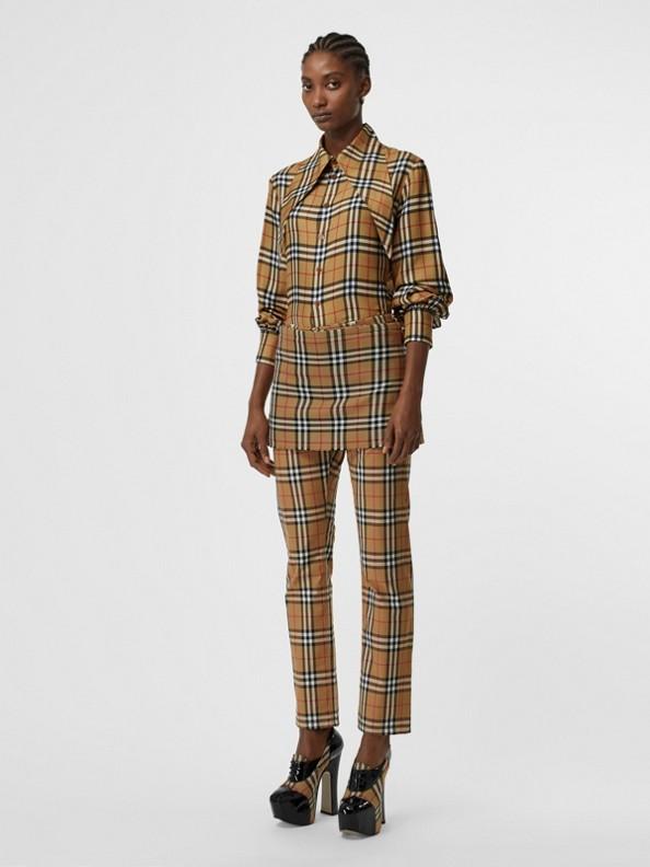 Minissaia estilo kilt de lã em Vintage Check (Amarelo Antigo)