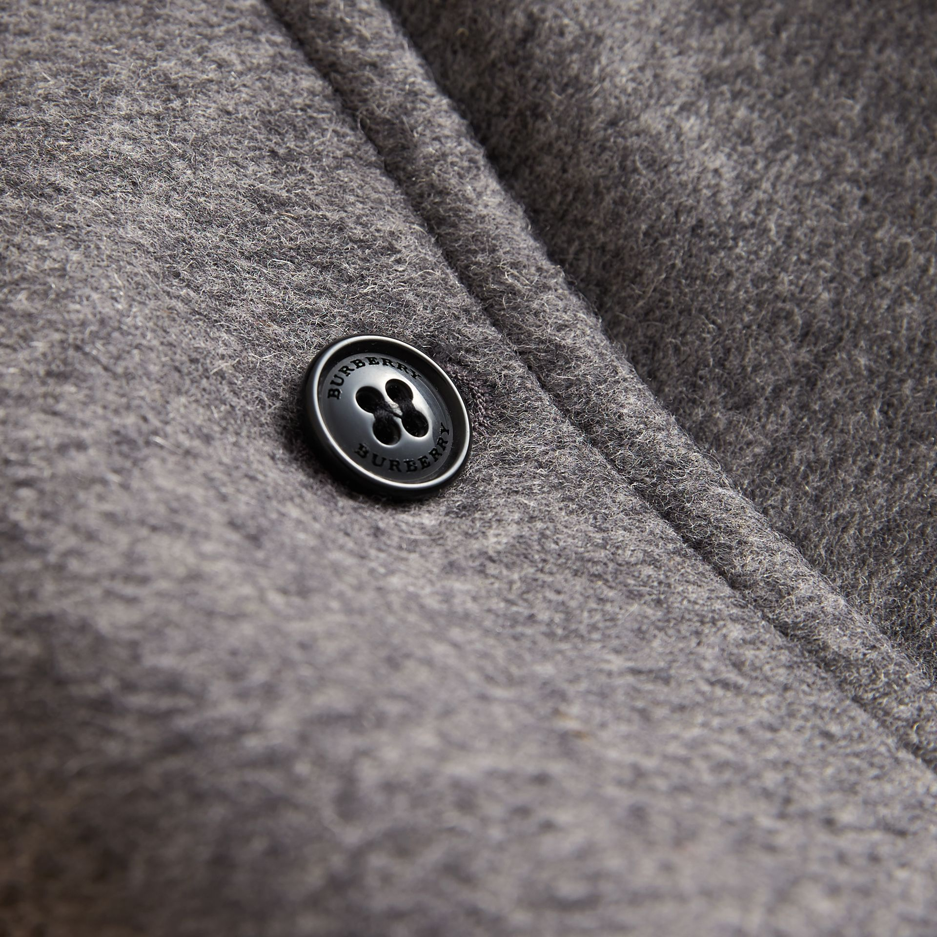 Hooded Check Detail Wool A-line Cape in Mid Grey Melange | Burberry - gallery image 2