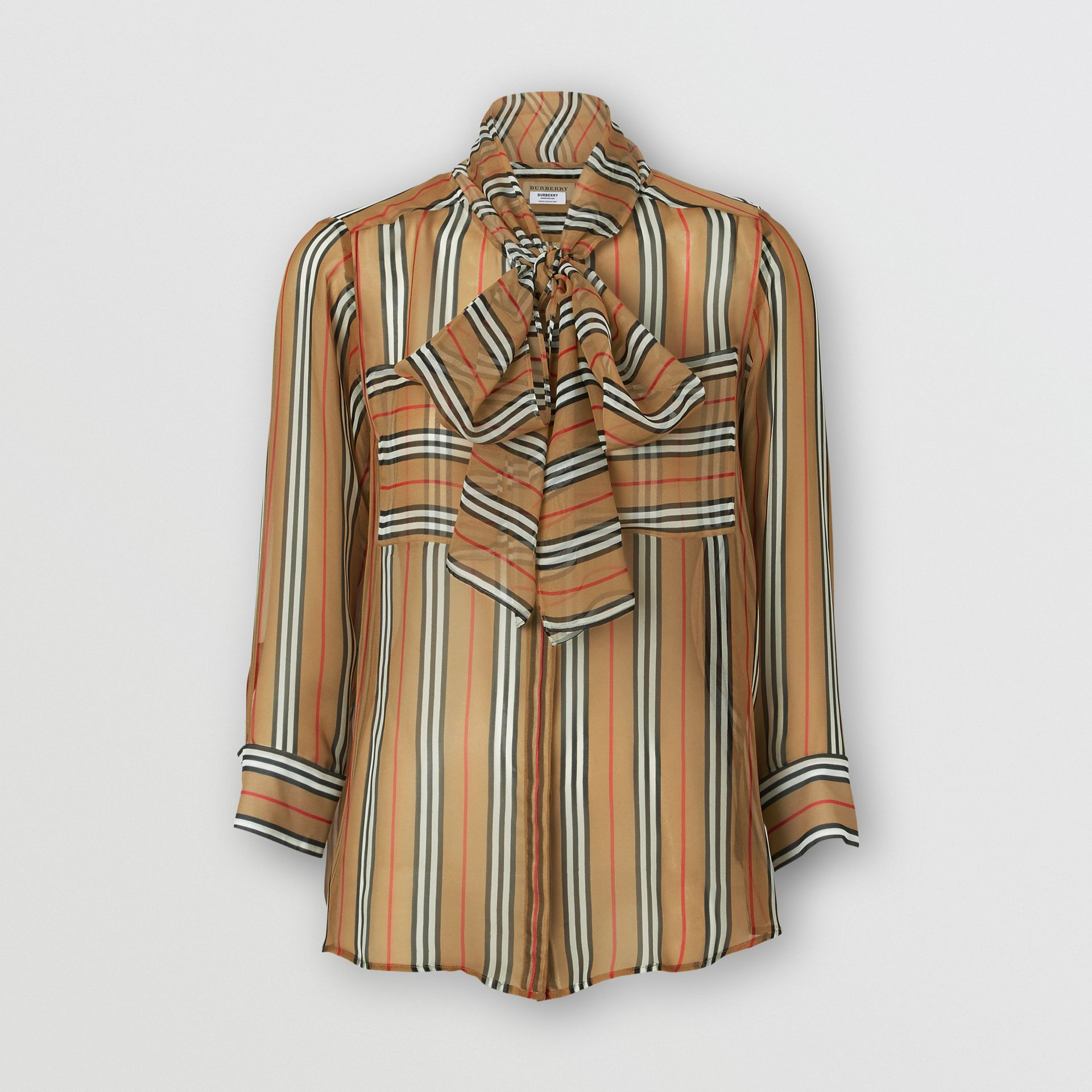Icon Stripe Silk Pussy-bow Blouse in Antique Yellow - Women | Burberry - gallery image 3