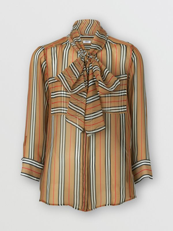 Icon Stripe Silk Pussy-bow Blouse in Antique Yellow - Women | Burberry Singapore - cell image 3