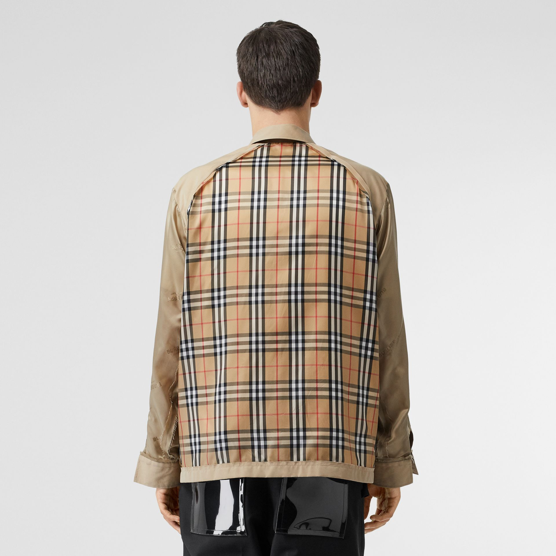 Seam Detail Vintage Check Shirt in Archive Beige - Men   Burberry United States - gallery image 2