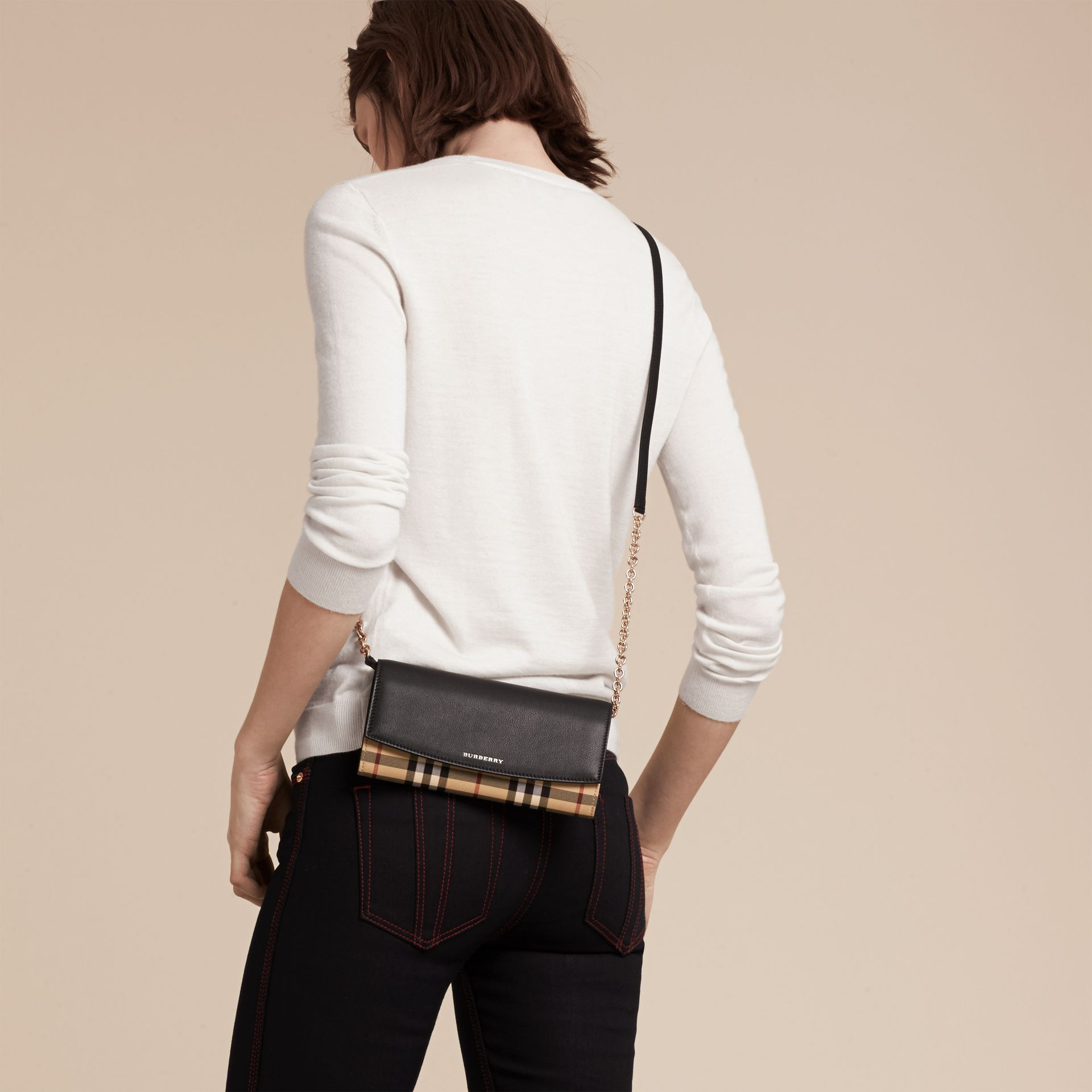 Horseferry Check and Leather Wallet with Chain in Black - Women | Burberry - gallery image 3