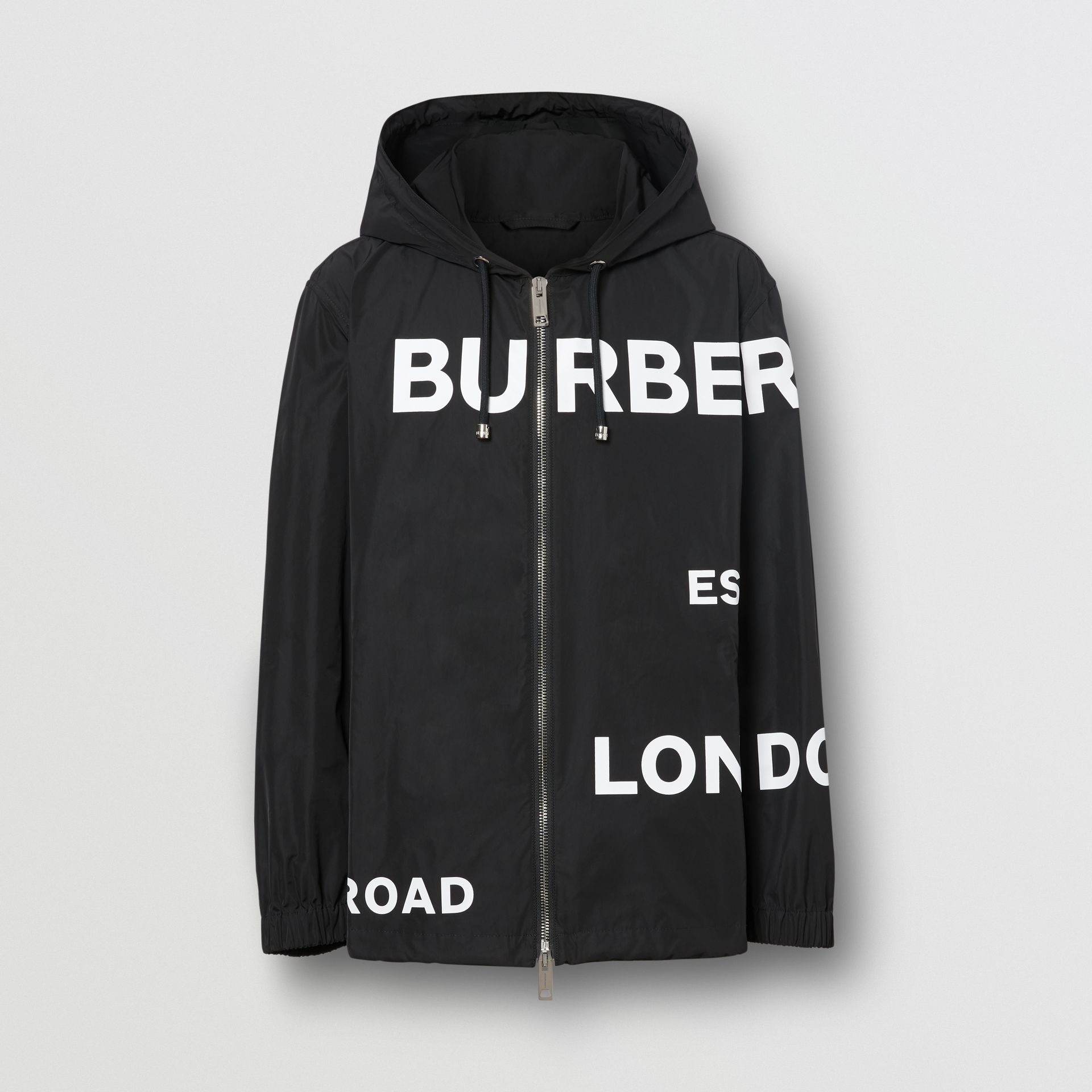 Horseferry Print Lightweight Hooded Jacket in Black - Men | Burberry - gallery image 3