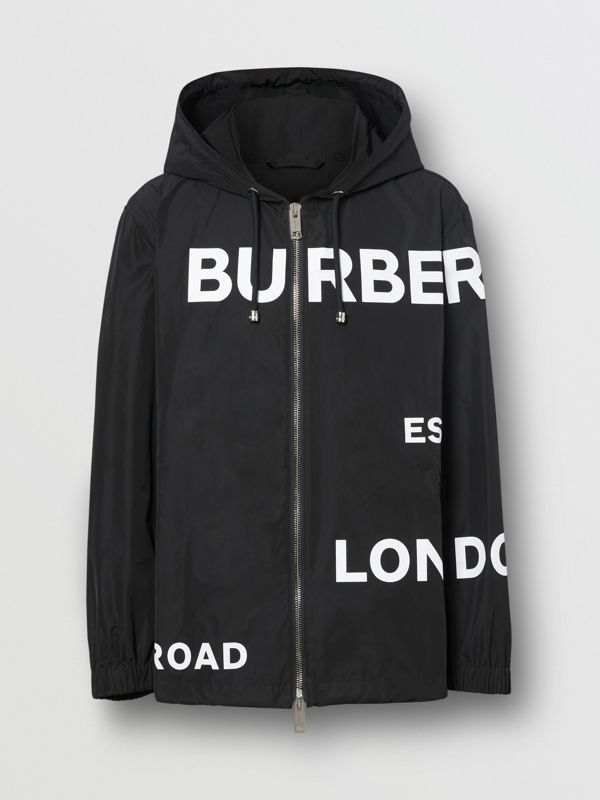 Horseferry Print Lightweight Hooded Jacket in Black - Men | Burberry - cell image 3