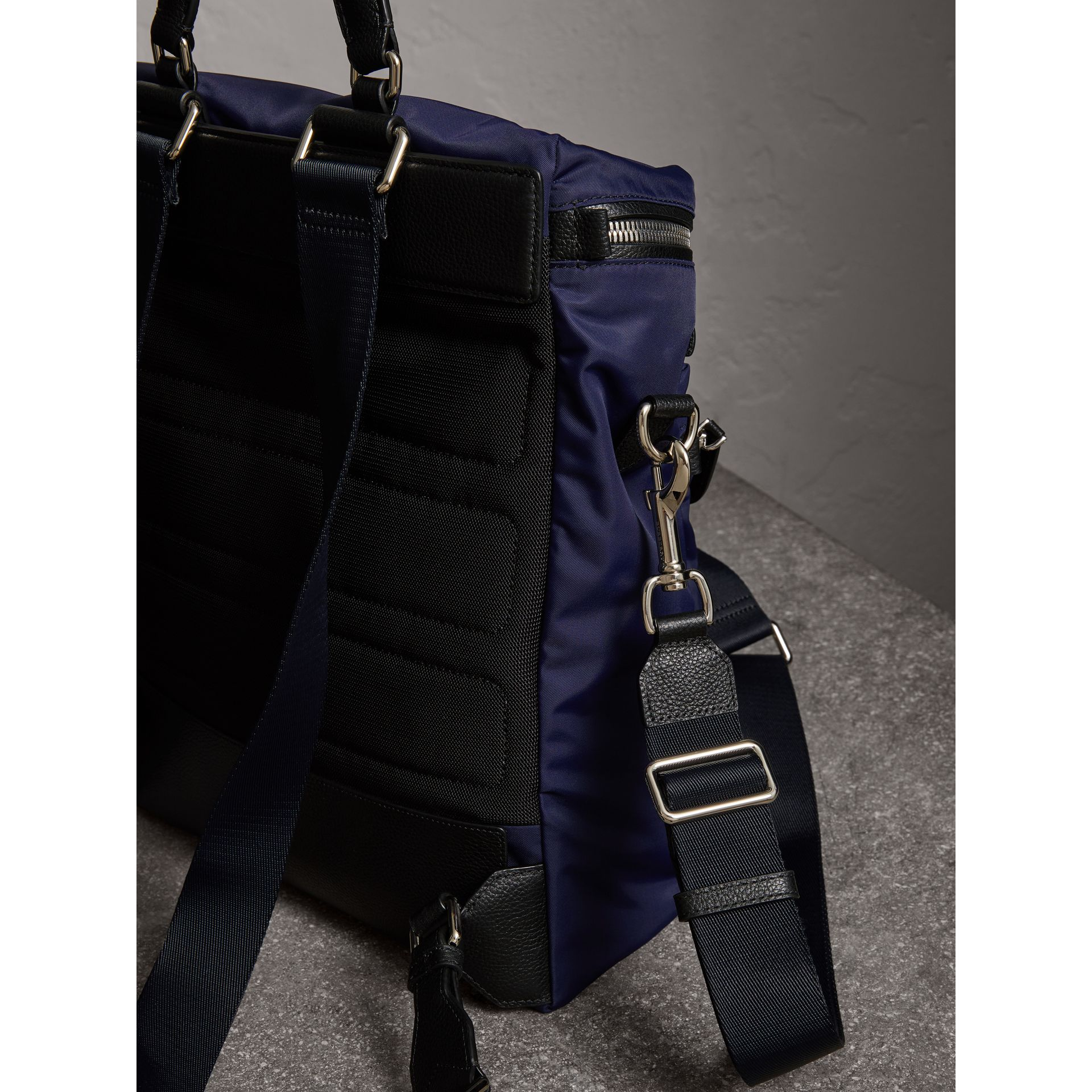 Zip-top Leather Trim Showerproof Backpack in Dark Navy - Men | Burberry - gallery image 4