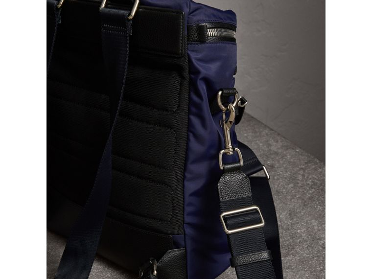 Zip-top Leather Trim Showerproof Backpack in Dark Navy - Men | Burberry - cell image 4