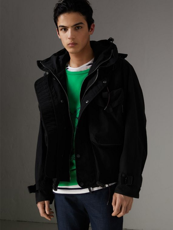 Showerproof Nylon Jacket with Gilet in Black