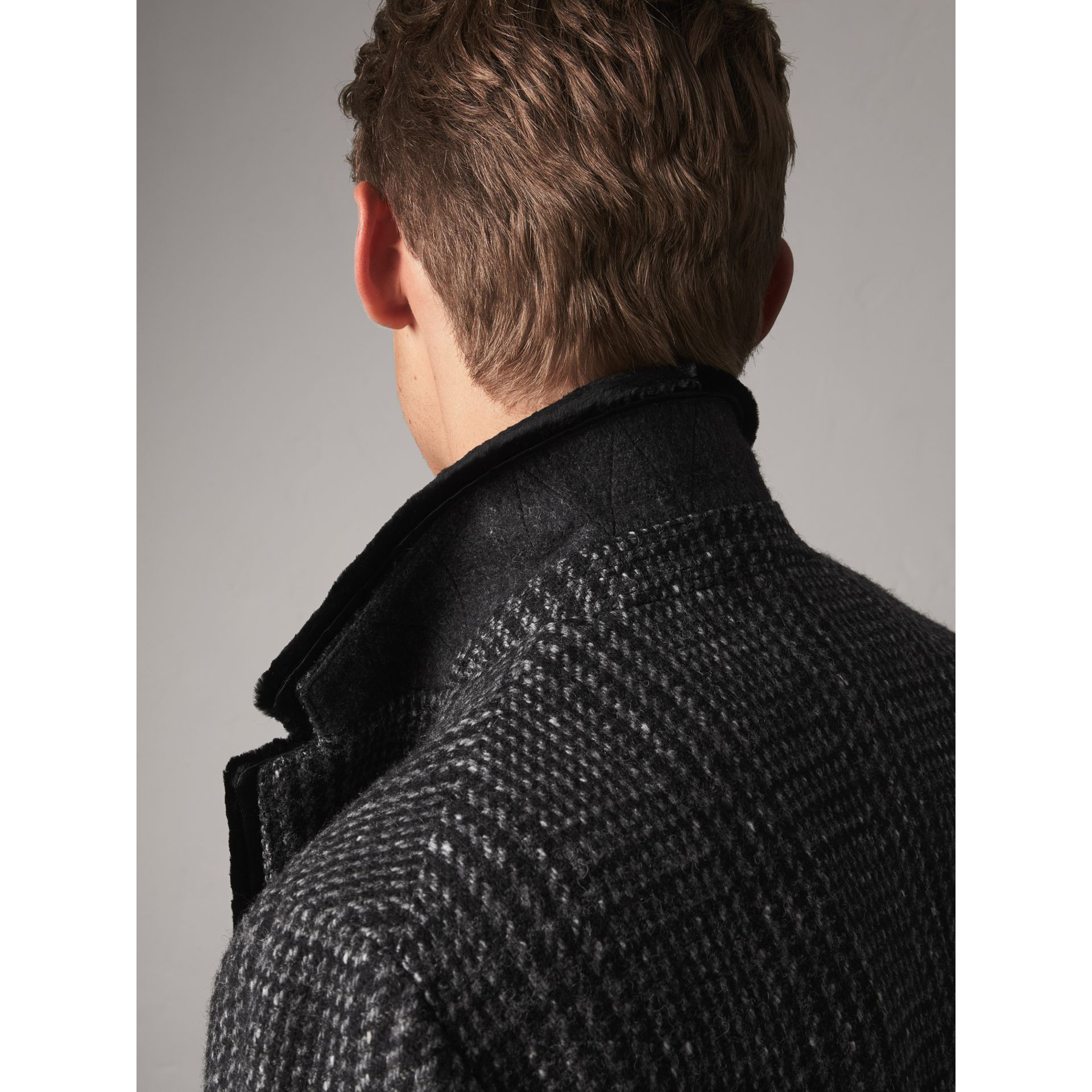 Detachable Mink Collar Check Wool Tailored Coat in Charcoal - Men | Burberry - gallery image 2
