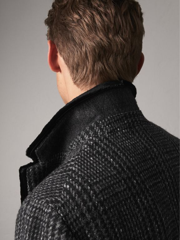 Detachable Mink Collar Check Wool Tailored Coat in Charcoal - Men   Burberry - cell image 1