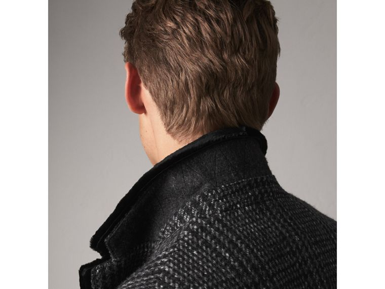 Detachable Mink Collar Check Wool Tailored Coat in Charcoal - Men | Burberry - cell image 1