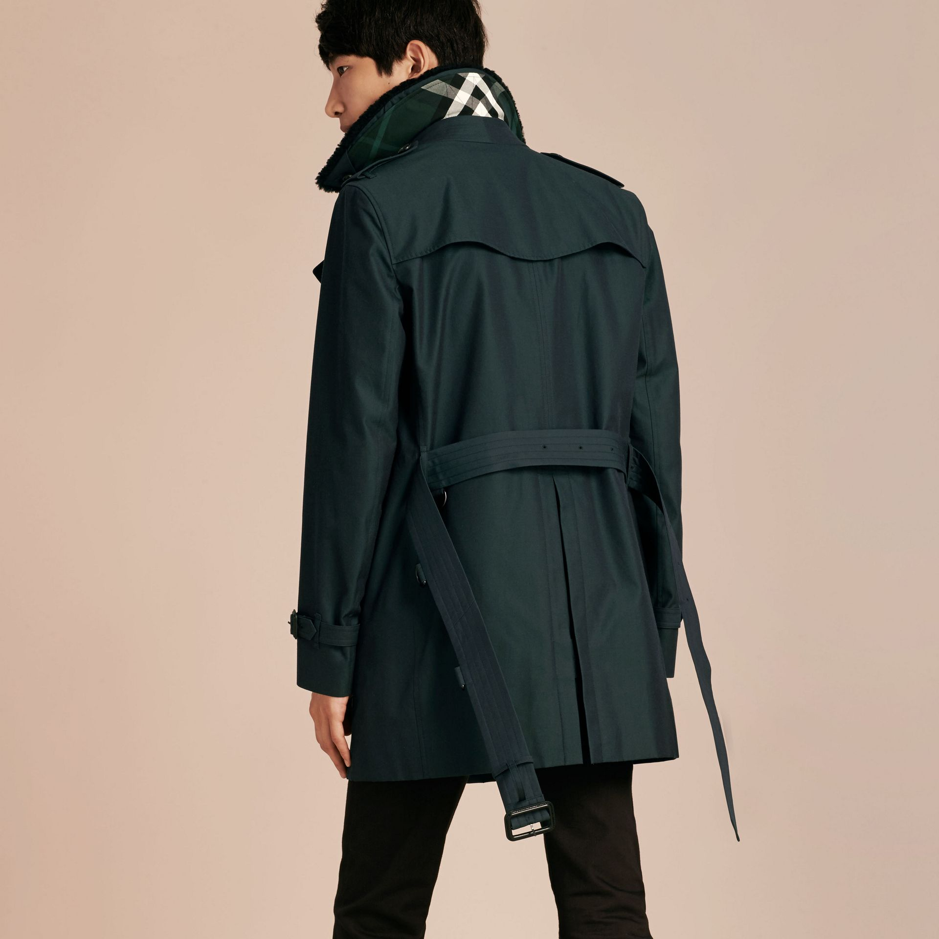 Detachable Shearling Topcollar Cotton Gabardine Trench Coat with Warmer in Racing Green - gallery image 3