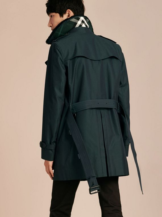 Racing green Detachable Shearling Topcollar Cotton Gabardine Trench Coat with Warmer Racing Green - cell image 2