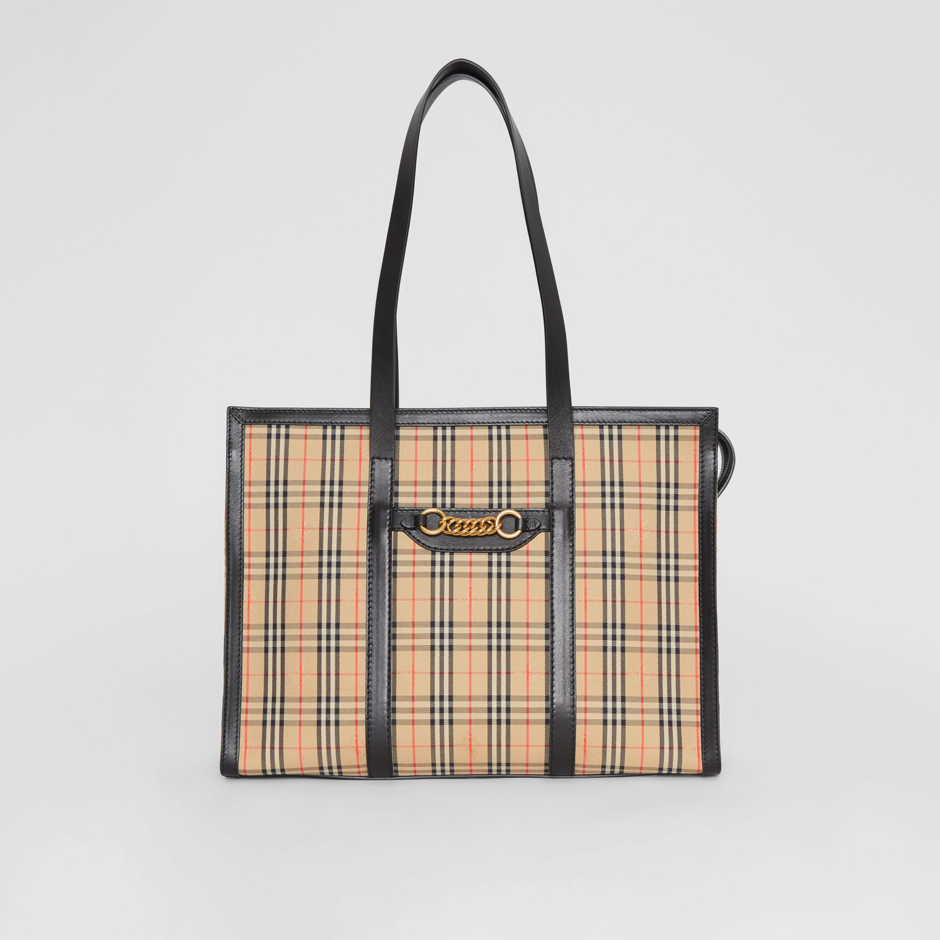 The 1983 Check Link Tote Bag in Black - Women | Burberry United Kingdom - gallery image 0