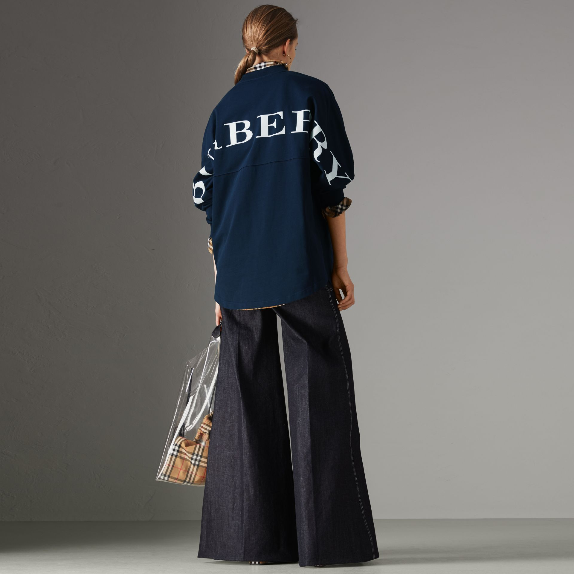 Logo Print Cotton Oversized Top in Navy - Women | Burberry - gallery image 0