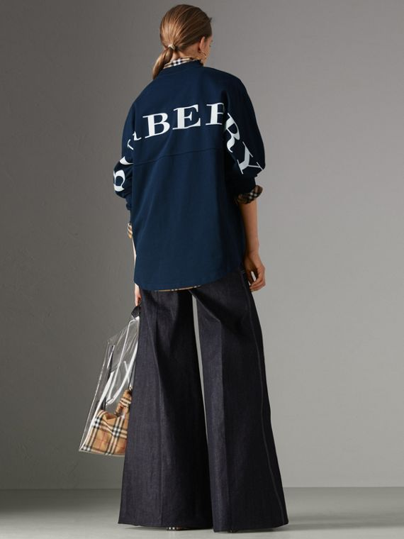 Logo Print Cotton Oversized Top in Navy
