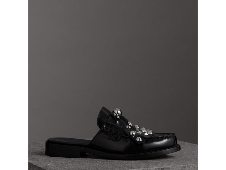 Studded Fringe Patent Leather Mules in Black - Women | Burberry Australia - cell image 4