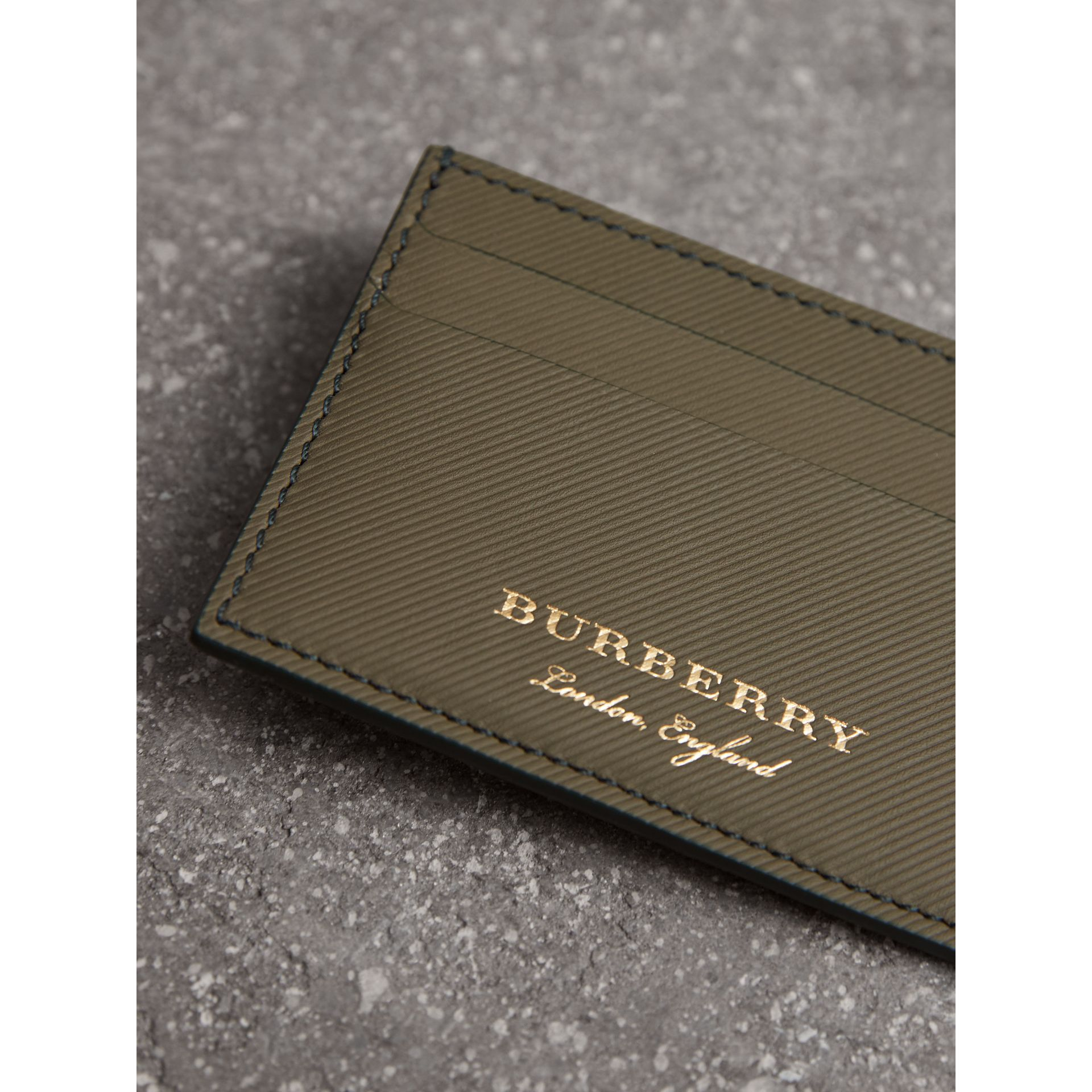 Trench Leather Card Case in Slate Green - Men | Burberry - gallery image 1