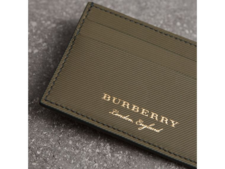 Trench Leather Card Case in Slate Green - Men | Burberry United Kingdom - cell image 1