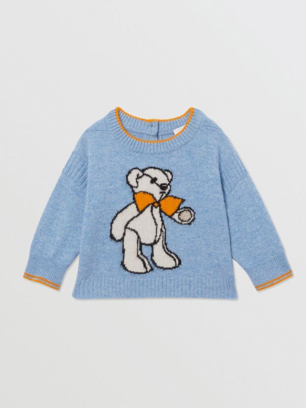 Bear Intarsia Wool Cashmere Two-piece Baby Gift Set in Pale Blue - Children | Burberry United Kingdom - cell image 2