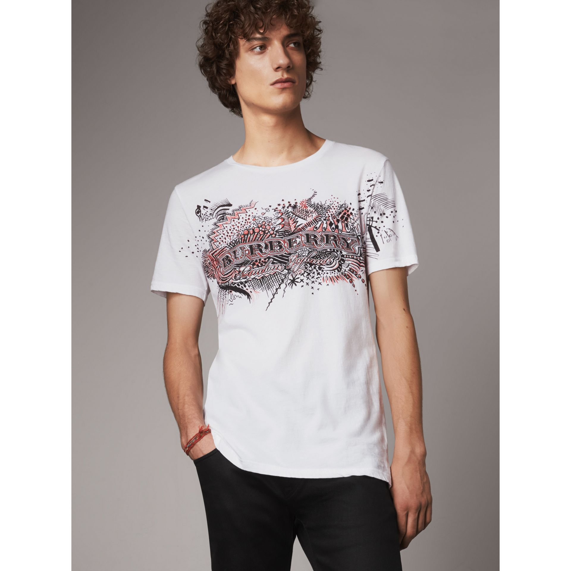 Doodle Print Cotton T-Shirt in White - Men | Burberry - gallery image 0