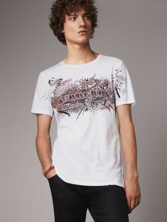 Doodle Print Cotton T-Shirt in White