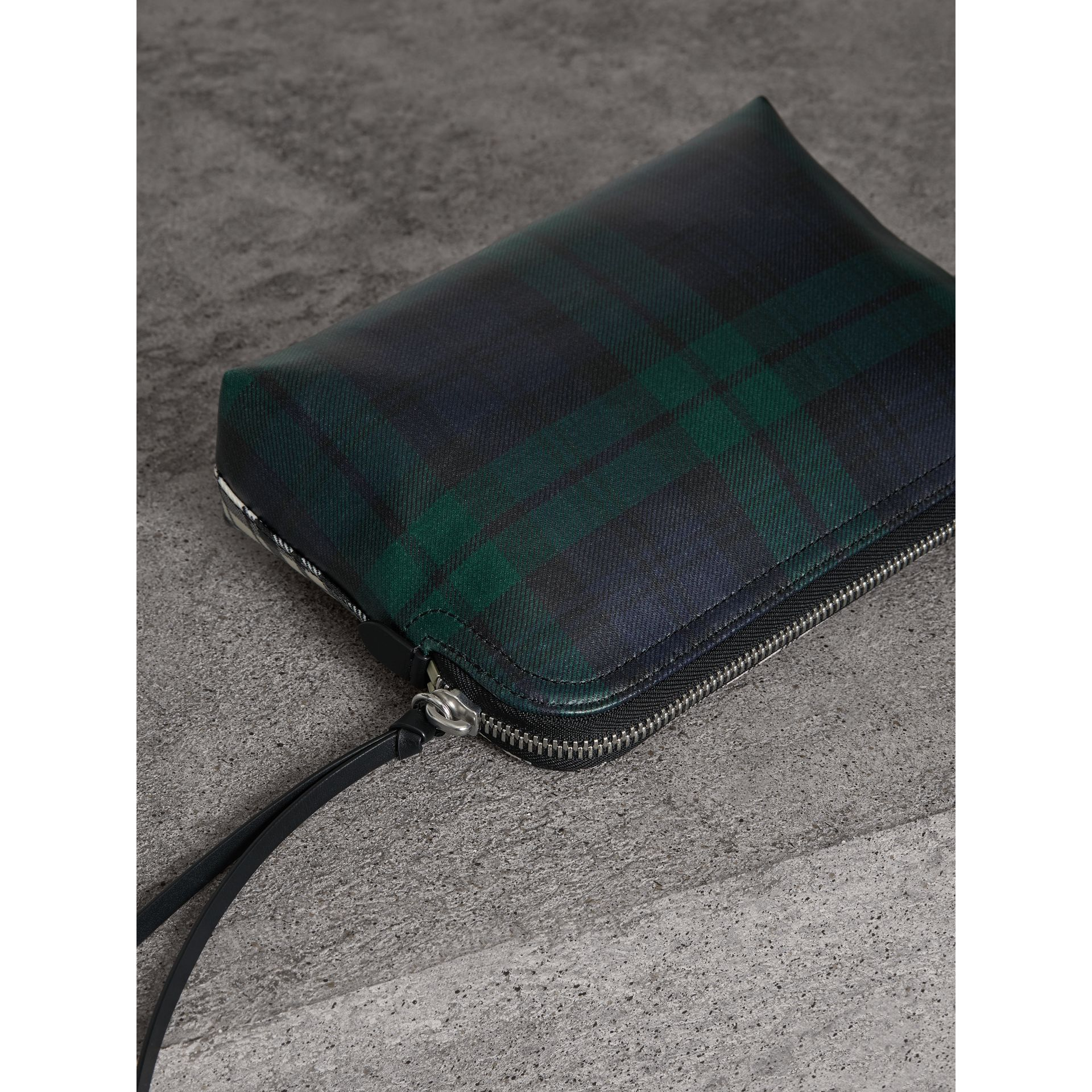 Large Laminated Tartan and Check Wool Blend Pouch in Black/white - Women | Burberry - gallery image 2
