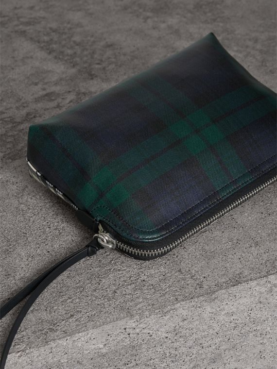 Large Laminated Tartan and Check Wool Blend Pouch in Black/white - Women | Burberry - cell image 2