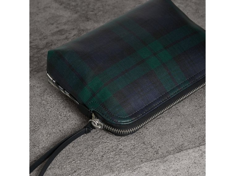 Large Laminated Tartan and Check Wool Blend Pouch in Black/white - Women | Burberry - cell image 4