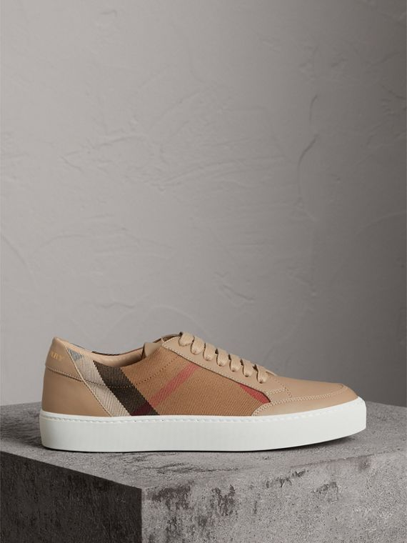Check Detail Leather Trainers in House Check/ Nude - Women | Burberry - cell image 3
